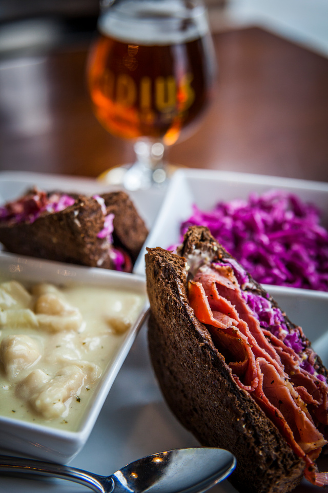 Radius Brewing - Pastrami with chicken dumpling soup and red slaw